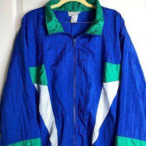 Vintage 90s Windbreaker Color Block Pattern Size L